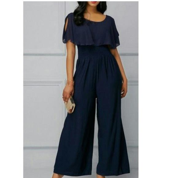 Rotita Pants Navy Blue High Waisted Jumpsuit Sixe 2x Poshmark